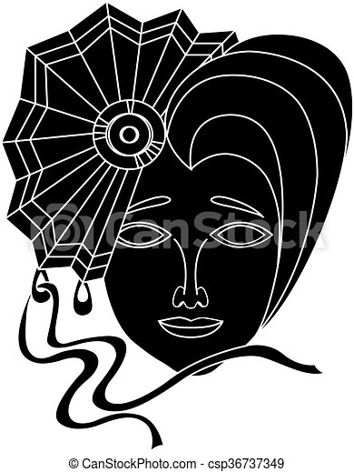 Vector icon of carnival mask on a white background - csp36737349