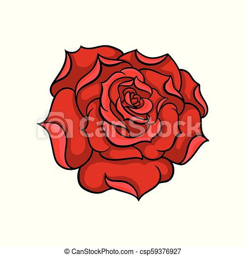 Vector Icon Of Gorgeous Bright Red Rose Bud Of Garden Flower Tattoo Artwork Nature Theme Design For Sticker T Shirt Print Or Postcard