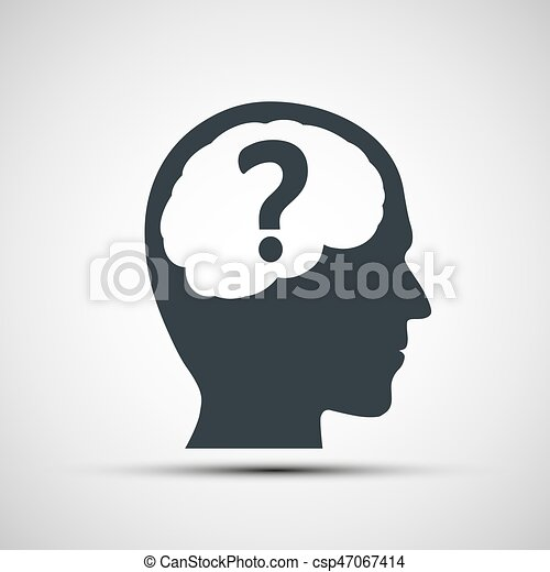 Vector icon of human head with a question mark - csp47067414