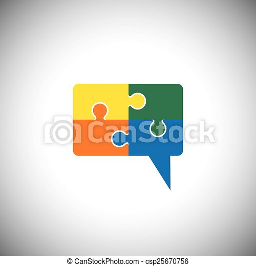 vector icon of talk or chat icon or speech bubble as puzzle - csp25670756