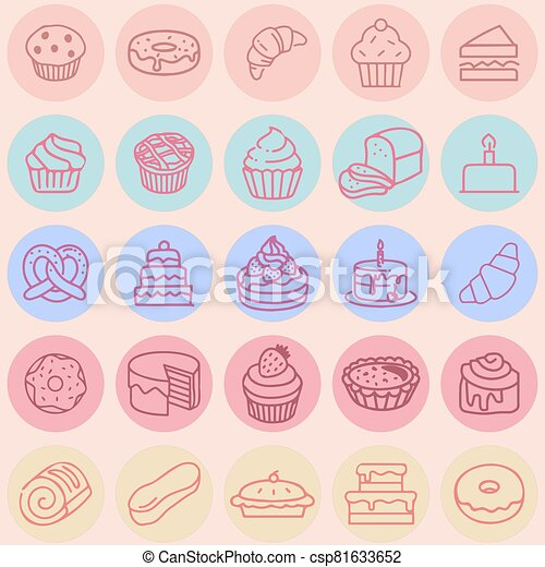 Vector icon set hand drawn colorful cakes, tarts, cupcakes, desserts, bakery.  poster or postcard design, template for dessert menu in cafe. - csp81633652