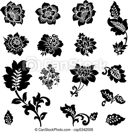 Vector Icon Set of Flowers and Florals - csp5342008