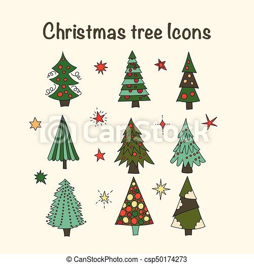 Vector Icon Set With Christmas Trees Vector Icon Set With Color Modern Christmas Trees New Year Cartoon Doodle Symbols Canstock Modern christmas tree, cardboard tree. https www canstockphoto com vector icon set with christmas trees 50174273 html