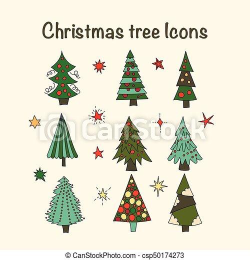 Modern Christmas Trees.Vector Icon Set With Christmas Trees