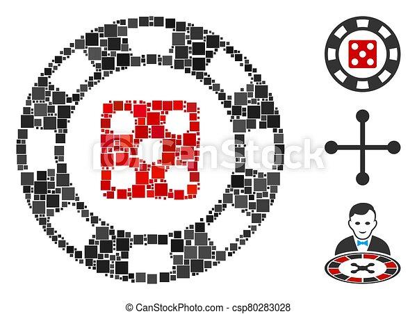 vector, icono, astilla, casino, collage, cuadrado, dados - csp80283028
