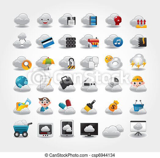 Vector Icons for Cloud network - csp6944134