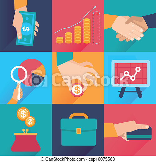 Vector icons in flat style - finance and business - csp16075563