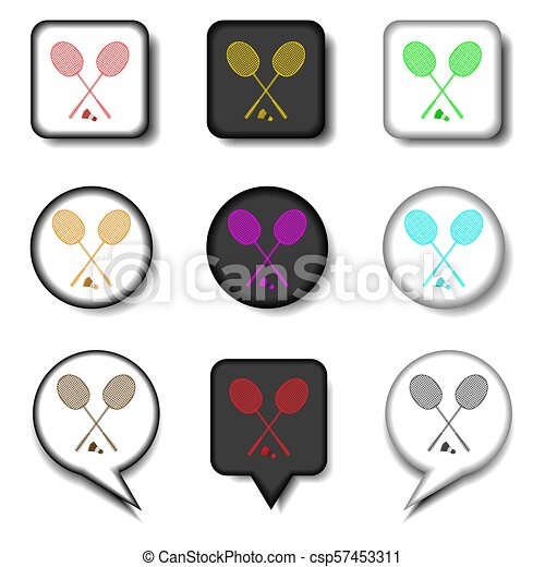 Vector Icons Logo From Set Symbols For Racket Badminton Racket