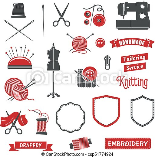 Vector icons of dressmaker sewing knitting salon - csp51774924