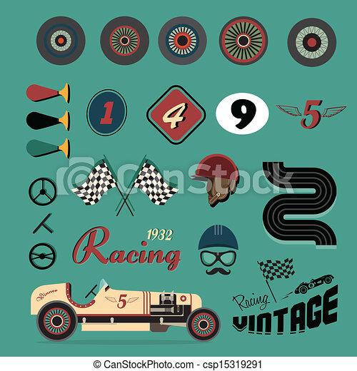 Vector icons of vintage car racing - csp15319291
