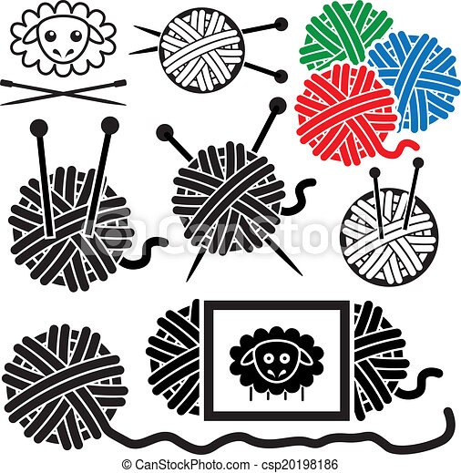 vector icons of yarn balls with sewing equipment needles Free Crochet Clip Art Knitters Clip Art