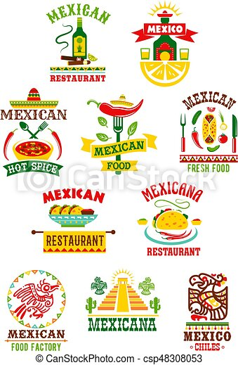 Vector Icons Set For Mexican Fast Food Restaurant Mexican