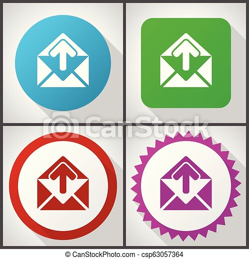 Vector icons with 4 options. Email flat design icon set easy to edit in eps 10. - csp63057364