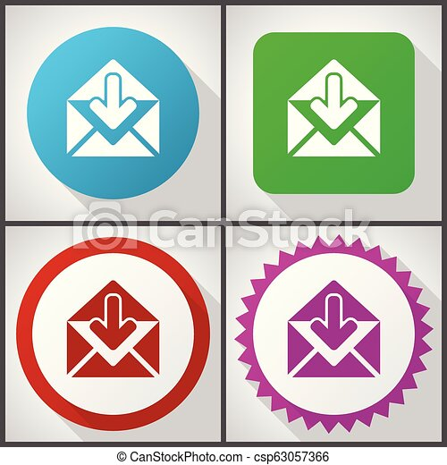 Vector icons with 4 options. Email flat design icon set easy to edit in eps 10. - csp63057366