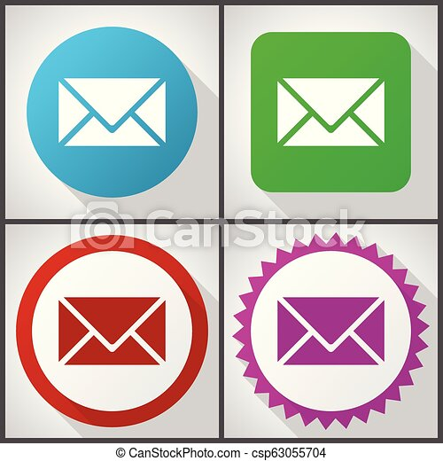 Vector icons with 4 options. Email flat design icon set easy to edit in eps 10. - csp63055704