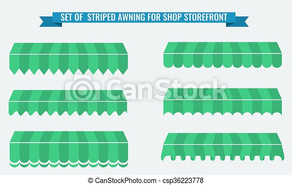 Vector illsutration set of striped awnings with flat color - csp36223778