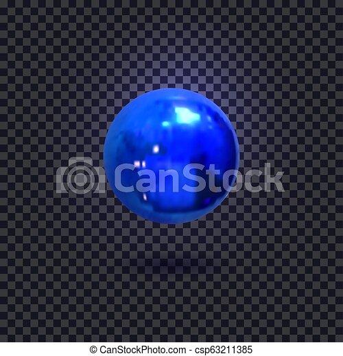 Vector Illuminated Blue Ball, Isolated on Dark Background Decorative Element. - csp63211385