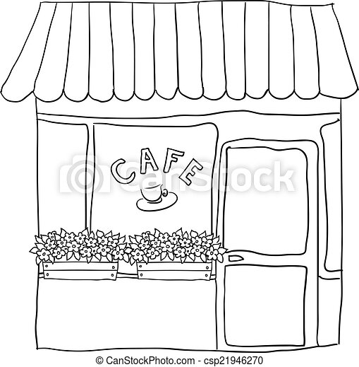 vector illustrated cute street cafe - csp21946270