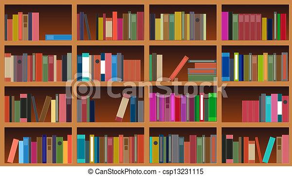 Vector, illustratie, boekenkast.