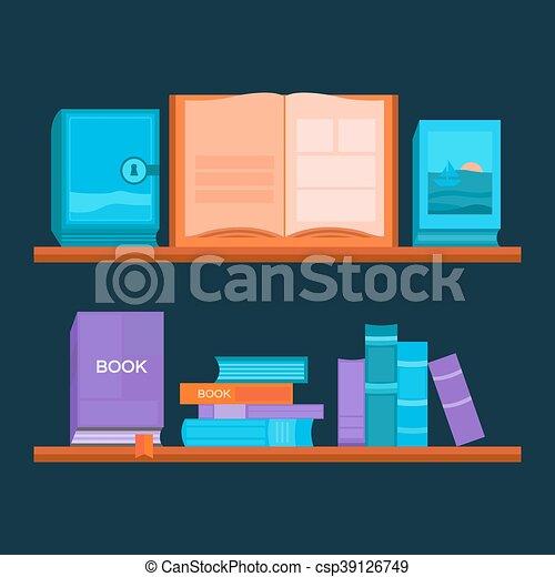 vector, illustratie, bookshelf. - csp39126749