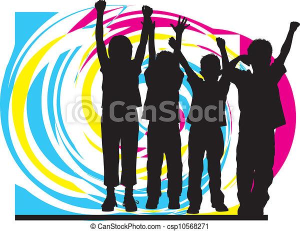 vector, illustratie, friends. - csp10568271