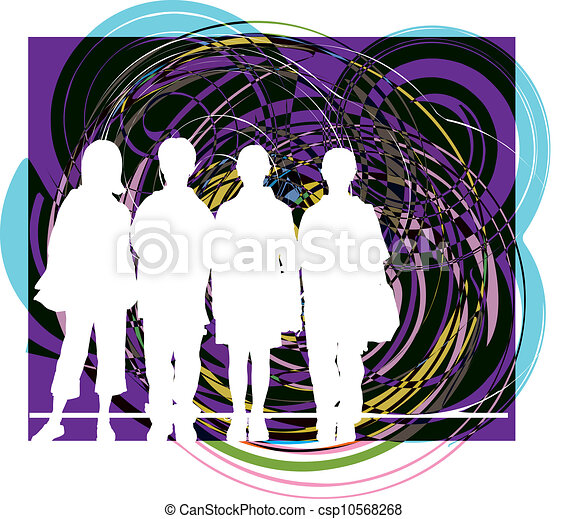 vector, illustratie, friends. - csp10568268