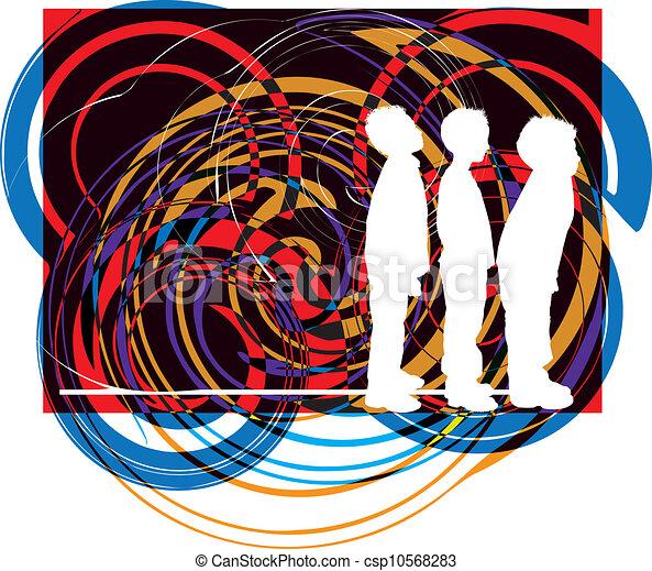 vector, illustratie, friends. - csp10568283