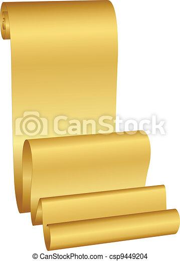 vector, illustratie, goud, boekrol - csp9449204