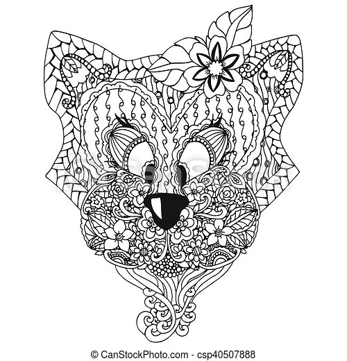 Vector Illustration A Cat With An Ornament Doodle Floral Drawing Meditative Exercises Coloring