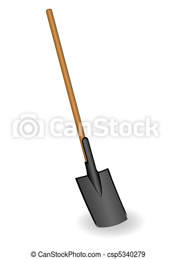 Vector illustration a shovel with the wooden handle - csp5340279