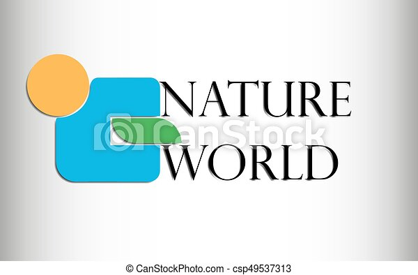 Vector illustration abstract logo of an orange circle, a blue figure and an abstract green leaf with the inscription nature and the world with a shadow from them on a gradient on white to gray on the edges - csp49537313