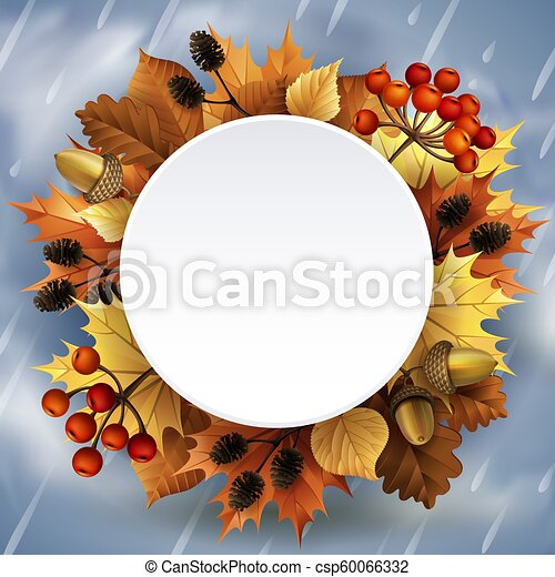 Vector illustration - Autumn background with leaves, berries, acorns and cones. - csp60066332