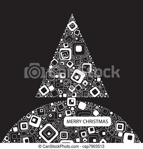 Vector illustration. Black background with Christmas tree - csp7903513