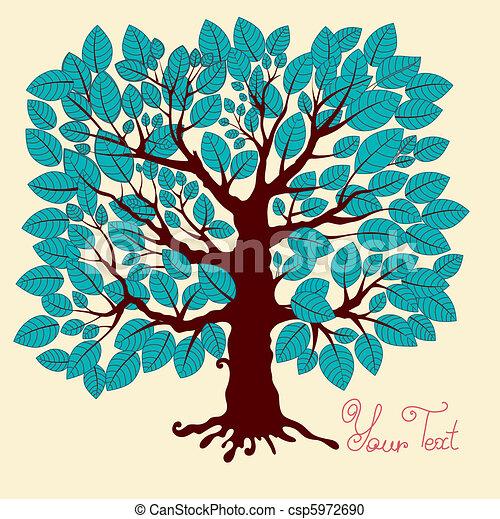 Vector illustration: blue tree - csp5972690