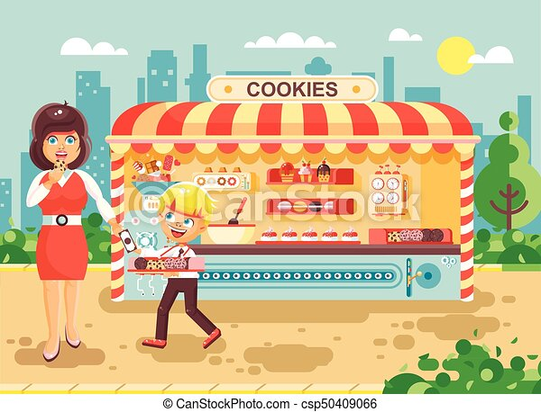 Vector illustration cartoon characters child pupil schoolboy seller boy sales to woman muffin, cupcake, cake, sweet, pastries, biscuit manufactures of baking cookies, cooking business flat style - csp50409066
