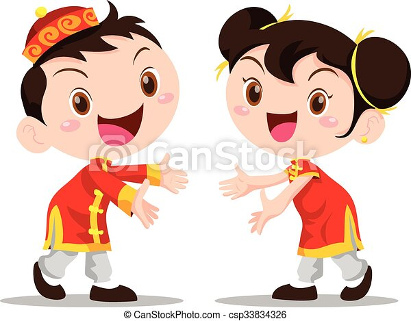 Vector illustration Chinese Kids - csp33834326