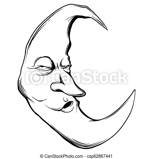 vector illustration crescent moon face in white background vector illustration crescent moon face https www canstockphoto com vector illustration crescent moon face 62867441 html