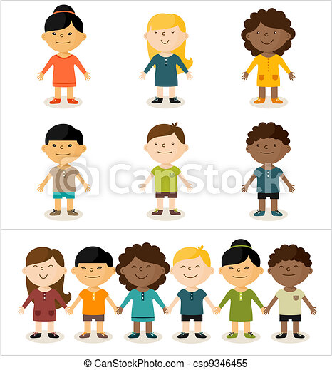 Vector illustration - cute smiling multicultural children.All elements can easily be changed to fit your layout. - csp9346455