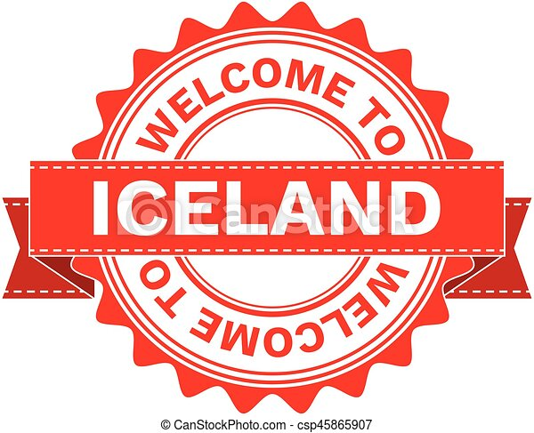 Vector Illustration Doodle of WELCOME TO COUNTRY ICELAND. EPS8 . - csp45865907
