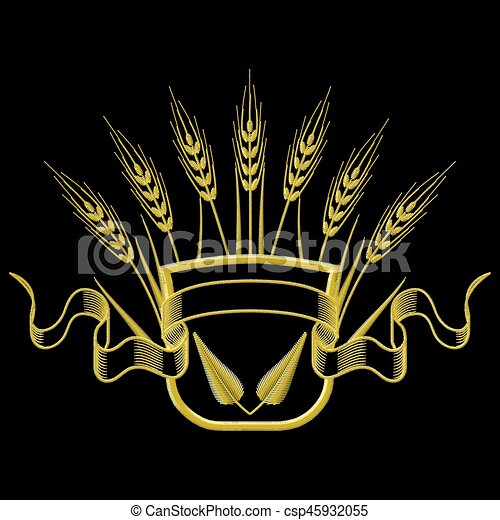 Vector illustration Embroidery Coat of arms with Wheat and leafs. - csp45932055
