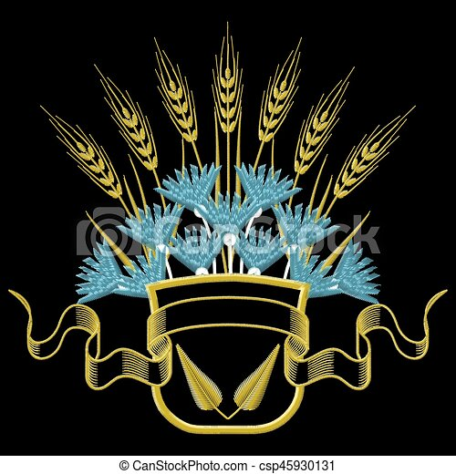 Vector illustration Embroidery Coat of arms with Wheat and blue Cornflowers. - csp45930131