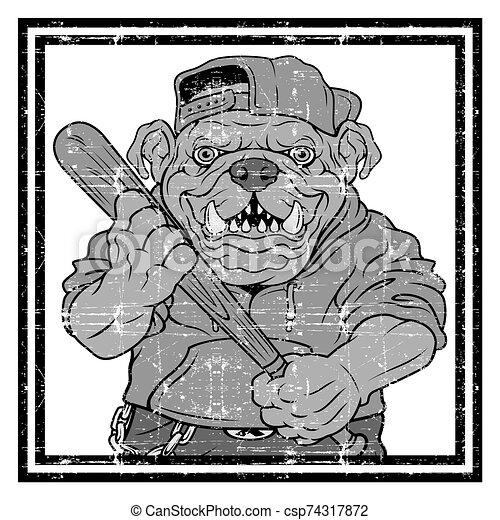 Vector illustration ferocious Bulldog baseball player hits a ball - Vector - csp74317872