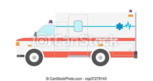 Vector illustration flat ambulance car emergency auto - csp37278143