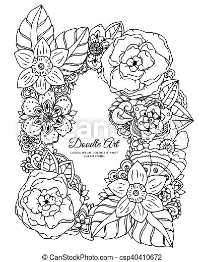 Vector Illustration Floral Frame Doodle Drawing Coloring Book Anti Stress For Adults Meditative