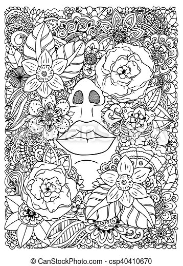 Vector Illustration Girl Drowned In Flowers Doodle Drawing Meditative Exercise Coloring Book Anti