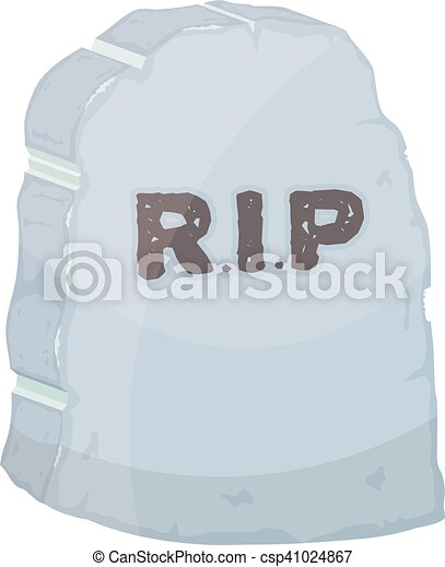 Vector illustration gravestone on white background. Cartoon image of a grave stone with the - csp41024867