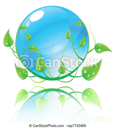 Vector illustration green and blue environment concept. - csp7743469