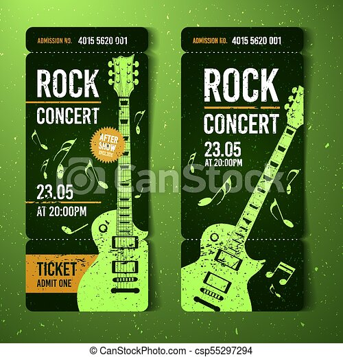 Vector illustration green rock concert ticket design template with ...