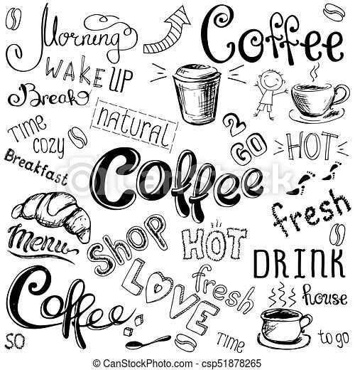 Vector Illustration Hand Drawn Coffee To Go Cups Mugs Beans And Lettering Types