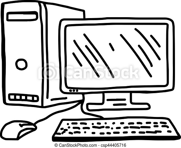 vector illustration hand drawn sketch of personal computer isolated on  white background